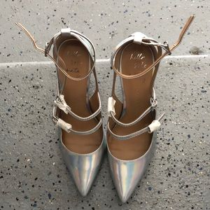 New Banana Republic holographic strappy heels